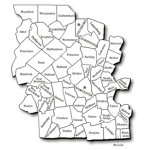 Map Of Worcester County Worcester County | Worcester MA Attorney Family Court, Housing  Map Of Worcester County